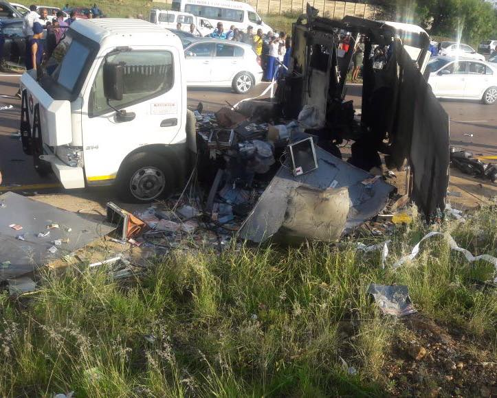GAUTENG - Cash-in-Transit Robbery, Vehicle was bombed N14 in Pretoria before Eeufees off-ramp