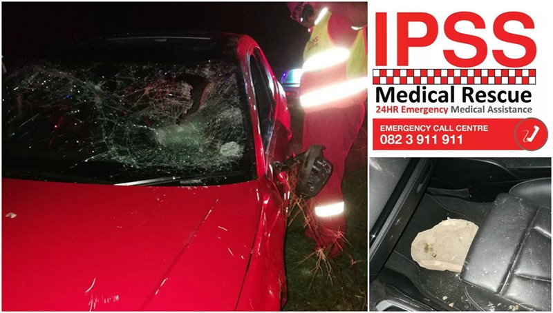 JUST IN: ANOTHER VEHICLE STRUCK BY A LARGE ROCK, N2 TONGAAT, KZN